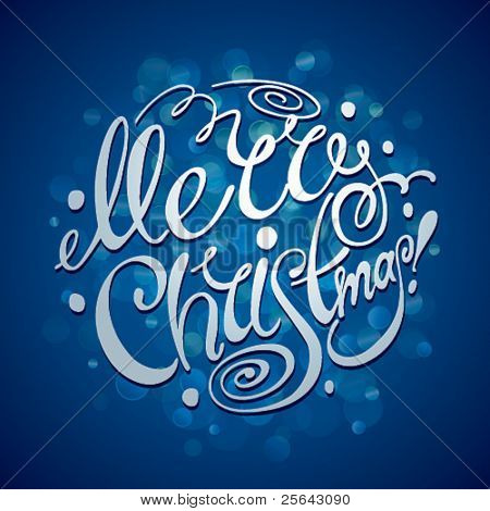 Christmas Card. Merry Christmas lettering on a blue background. Vector illustration.