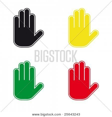 Proactive gesture of the hand. A set of vector icons