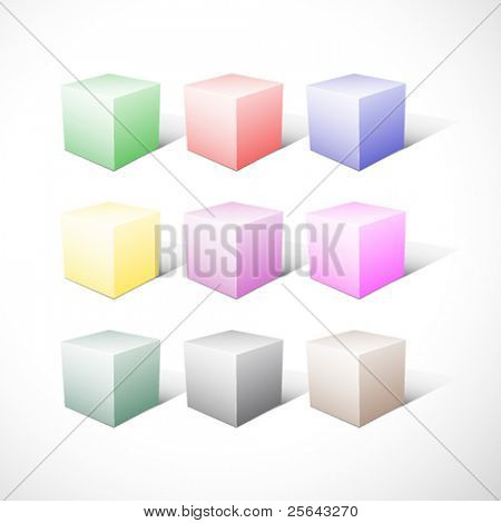 Vector set of colored cubes