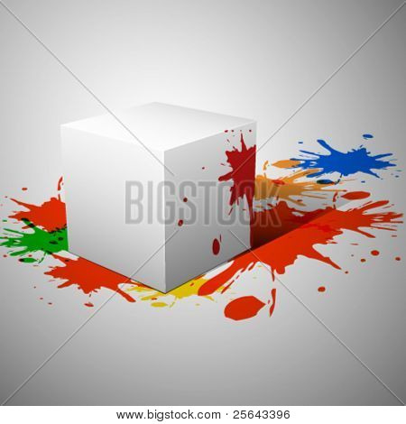Abstract background with cube. Vector illustration.