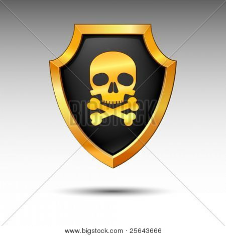 Shield with skull on a white background.
