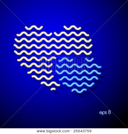 Neon heart on a blue background. Vector illustration.
