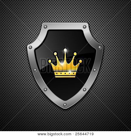 Shield  with crown on a metal background.
