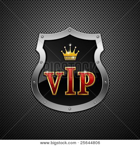 Shield on a metallic background. Vip. Vector illustration.