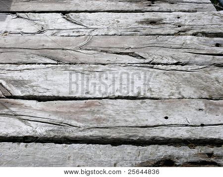 Weather beaten wood decking