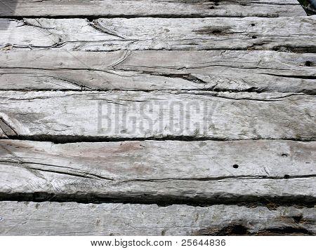 Weather beaten wood decking
