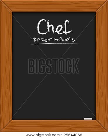 chef's suggestion - classical blackboard with chalk