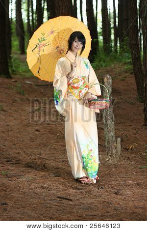 woman with yukata bring an umbrella