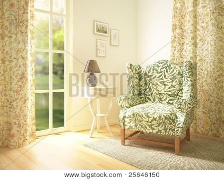 living room interior with a comfortable armchair. 3d render