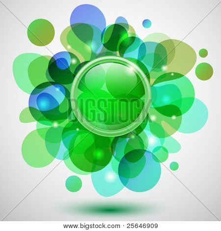 Abstract background with bubbles and green button