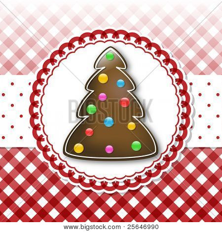 Christmas card template with chocolate tree