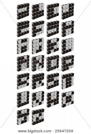3D Vectorized Letras de A Z en la gamma de gris