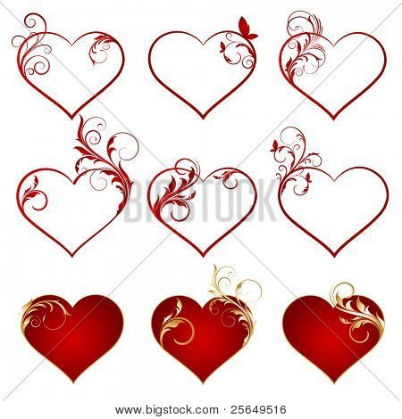 Set of vector hearts.