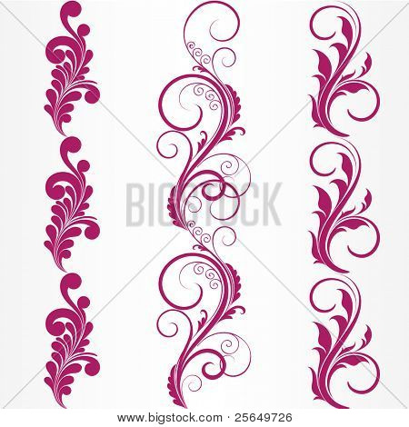 Set of abstract floral patterns. Element for design.