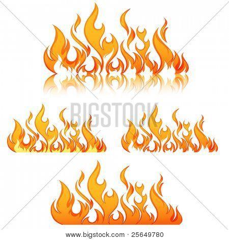 Brand vlammen. Collage.