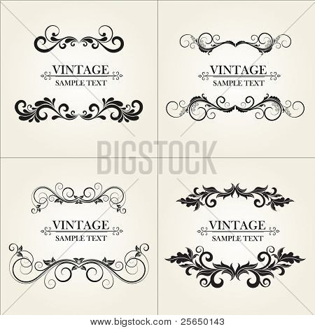 Set of vintage floral frame.  Element for design.