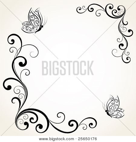 Floral frame with butterflies. Element for design.