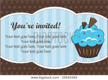 Blue cupcake invitation