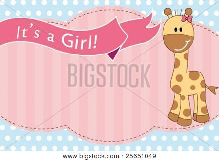 New baby girl arrival card