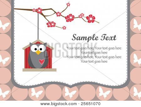 Natural owl invitation card