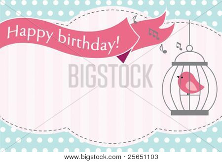 Bird in cage invitation card