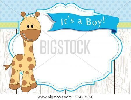 Baby boy arrival announcement giraffe card