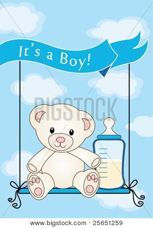 Teddy bear for baby boy / arrival announcement