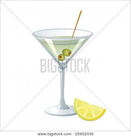 Vector martini with olives and lemon isolated on white background