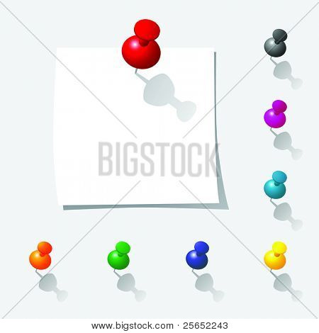 Raster illustration of push pin notes collection with  white page