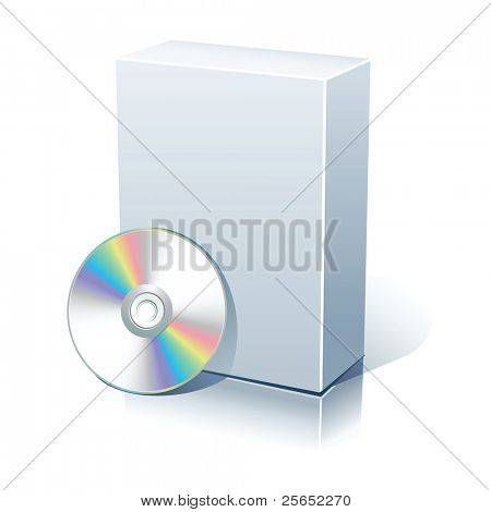 Blank software box with  disc isolated on white.