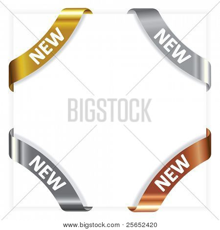 Vector set advertising angular  metallic ribbons