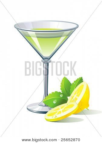 Vector green cocktail with lemon and spearmint isolated on white background