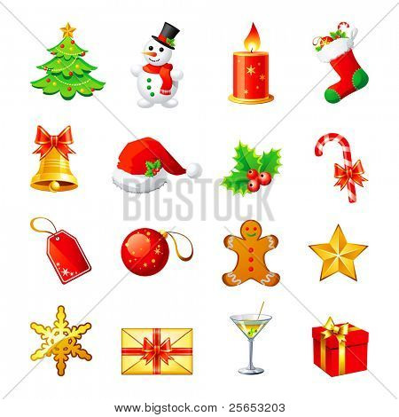 Vector Christmas icon. Set 1.