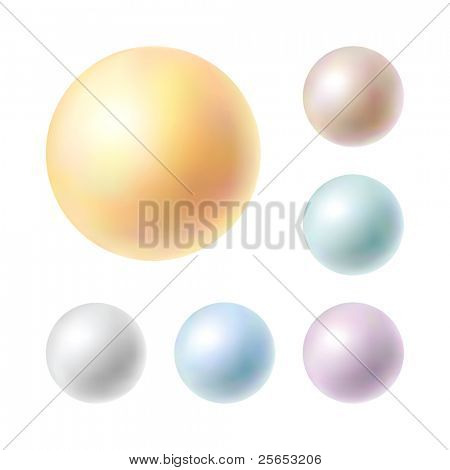 Vector Illustration of collection pearls isolated in white background.