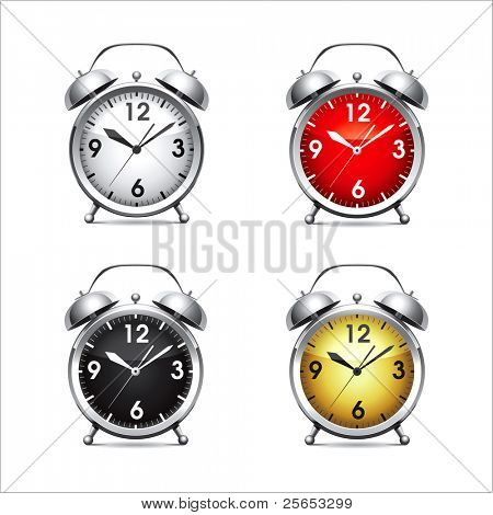 Set vector  illustration of a metal alarm clock.