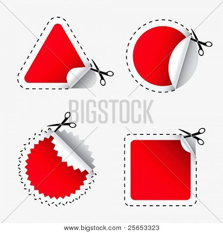 Raster illustration of scissors cutting red stickers.