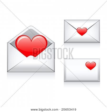 Set raster e-mail, envelop icons with heart .For Valentine Day.