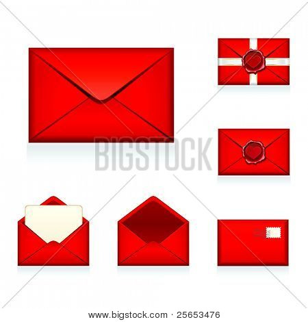 Set raster red e-mail, envelop icons with heart wax press.For Valentine Day.