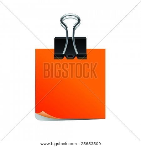 Orange note pad with black paperclip isolated on white background.