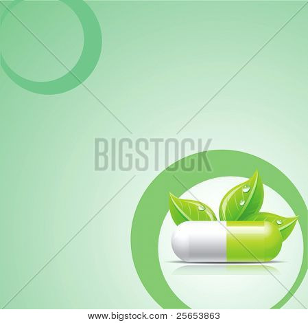 Raster medical background with green pill.