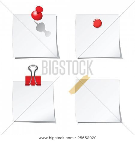 Set of white stickers with red paper clip and office pins