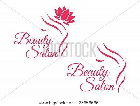 poster of Beautiful Woman Logo Template For Hair Salon, Beauty Salon, Cosmetic. Background Hair Salon