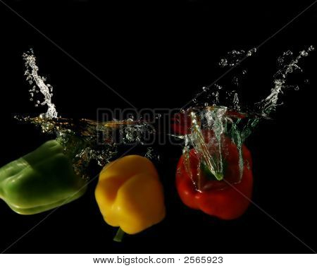 Vegetables - Color Peppers Dropped Under Water