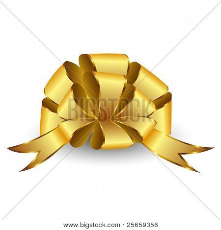 Gold bow on a white background. Vector.