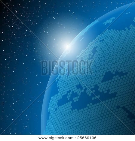 Abstract illustration of the planet earth in outer space. Vector.
