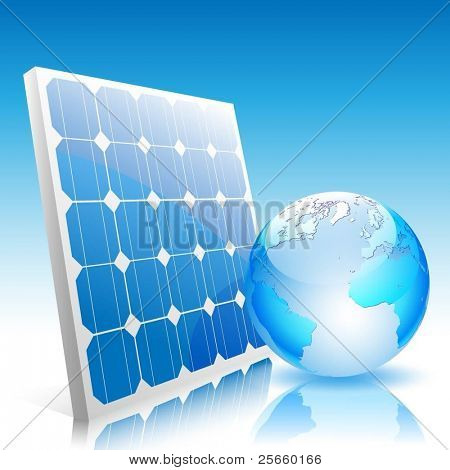 Illustration of Earth and solar panels. Vector.