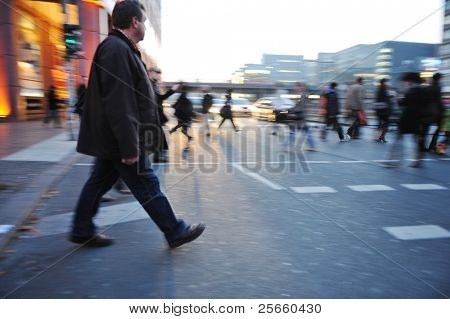 People crowd walking in the city