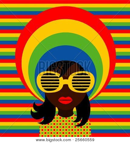 Retro style girl with sunglasses.