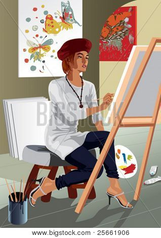 Profession set: attractive painter in her studio