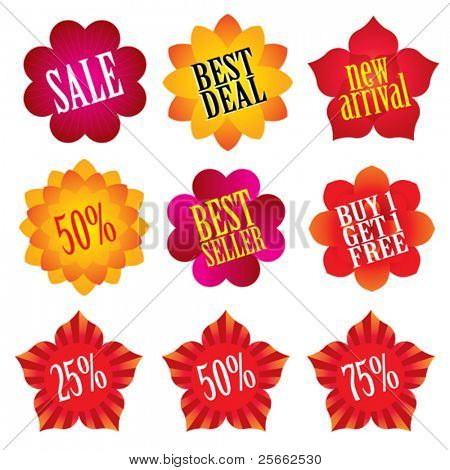 Collection of flower shaped sale labels.